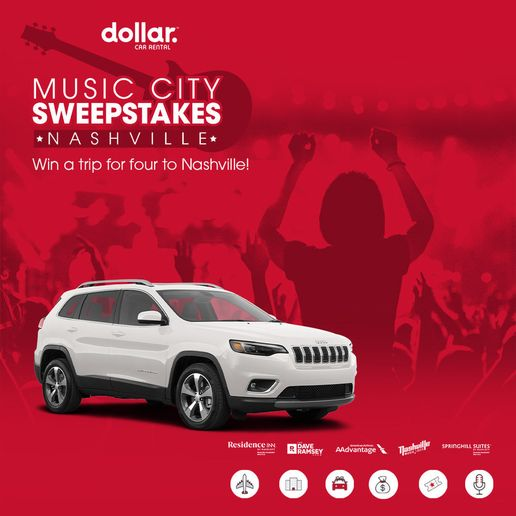 Participants can gain additional entries when they share the sweepstakes on social media. - Logo courtesy of Dollar Car Rental.