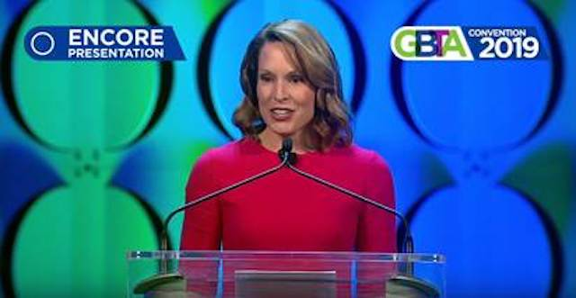 Chrissy Taylor, president and COO at Enterprise Holdings, spoke at this year's GBTA convention.  - Screenshot via GBT/YouTube.