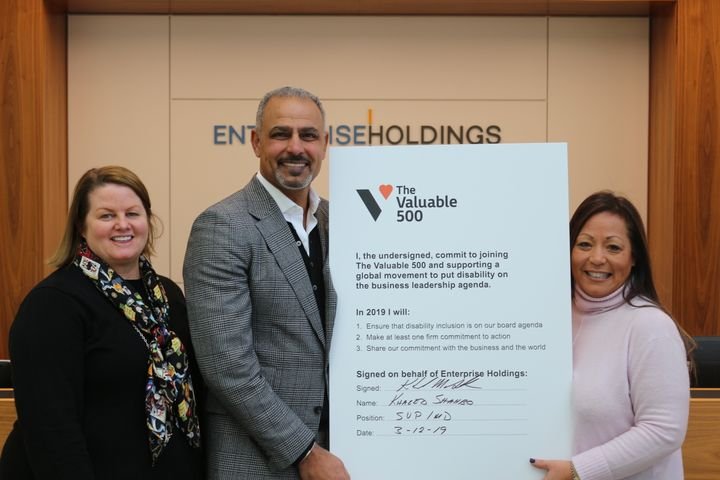 Pictured (left to right) - Donna Miller, VP human resources, Europe; Khaled Shahbo, senior VP, UK & Ireland; Shelley Roither, VP human resources. - Photo via Enterprise.