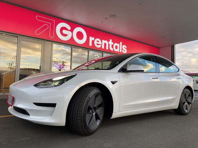 The fully electric Tesla Model 3, which can travel up to 500kmon a single charge, is now available to hire at all six GO Rentals' locations. - Photo via GO Rentals.