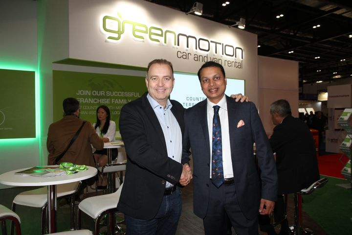 Sri Kodali, right, and Richard Lowden, left - photo taken at the World Travel Market 2019. - Photo courtesy of Green Motion.