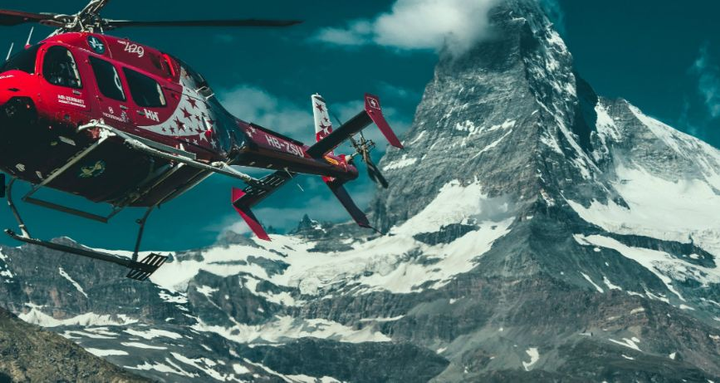 The trip provides breathtaking views of the Matterhorn; the Eiger, Mönch, and Jungfrau trio; and the Aletsch Glacier peaks in the flight's one hour duration.  - Photo via Air Zermatt.