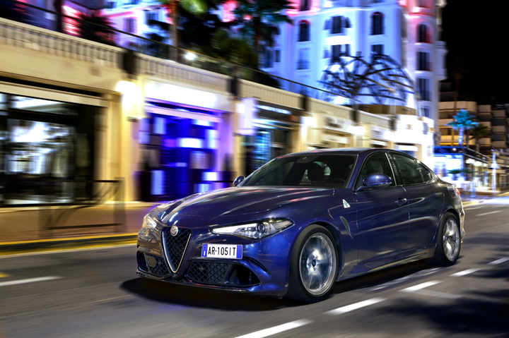 The most powerful production Alfa ever, the four-door grand tourer is equipped with a 2.891-litre V6 engine, delivering 375kW / 510hp, and offering a maximum torque of 600 Nm at 2,500 rpm – to embody the Italian motoring heritage of the 1960s. - Photo via Hertz.