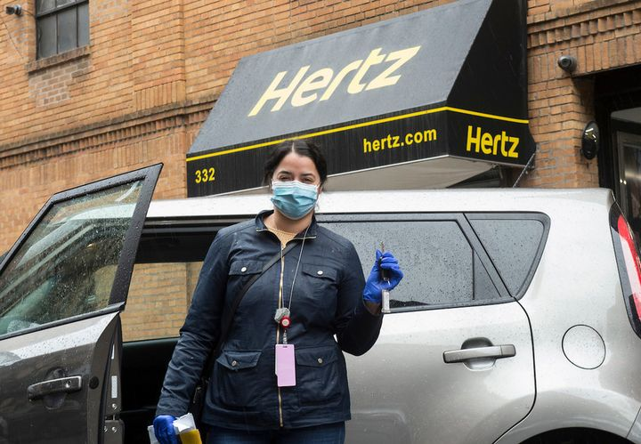 A healthcare worker picks up their car from Hertzin New York City March 28. - Photo via Hertz.