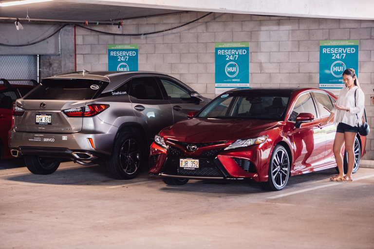 Seventy Toyota and Lexus vehicles are available for reservation through the Hui mobile app (for...