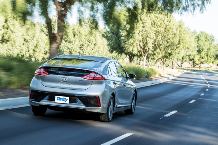 Thrifty now offersthe Hyundai IONIQ, with a 200km verified range and zero exhaust emissions, as a rental option. - Photo via Thrifty.