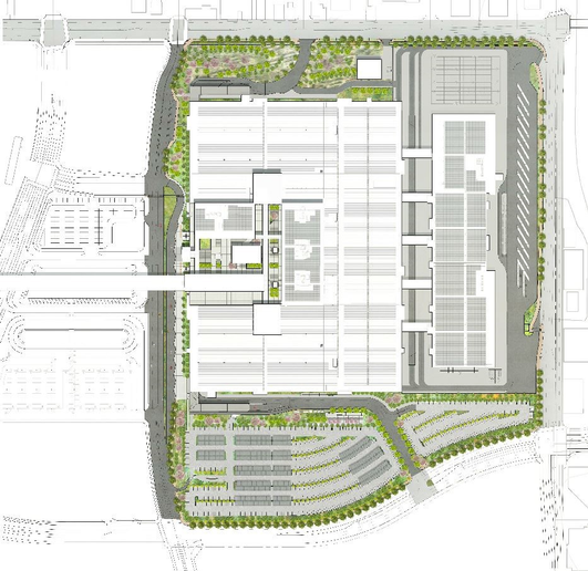 The facility layout above is LAGP's site plan for the CONRAC. By condensing the footprint of facility, future development opportunities become available.    - Photo courtesy of LAX.