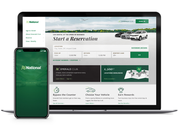National's website offers a robust search function for locations, global destinations, and vehicle classes.  - Photo via Enterprise.