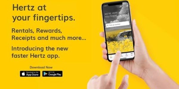 The new Hertz app is available to download on Apple and Android devices in the U.S and Canada.