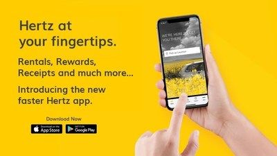 The new Hertz app is available to download on Apple and Android devices in the U.S and Canada.  - Photo via Hertz.