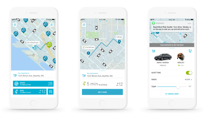 ReachNow members can now seamlessly choose to drive themselves, hail an immediate ride, or schedule a pick-up for later, all within a single ReachNow app.  - Photo via ReachNow.