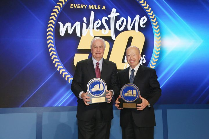 Roger S. Penske (left), chairman of Penske Transportation Solutions, and Brian Hard, president and CEO of Penske Transportation Solutions, pose for a 50th anniversary photo. - Photo courtesy of Penske Transportation Solutions.