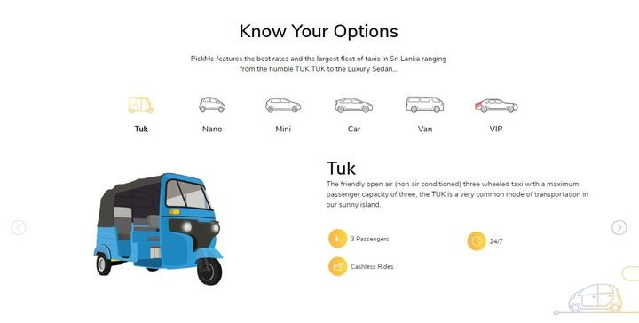 Launched in 2015, PickMe users can request a vehicle ranging from an autorickshaws, to a luxury car via a smartphone app. - Screenshot via PickMe.