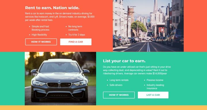 Rideshare drivers are now able to rent and drive-to-own vehicles that are listed on the HyreCar platform by participating dealers. - Screenshot via HyreCar.