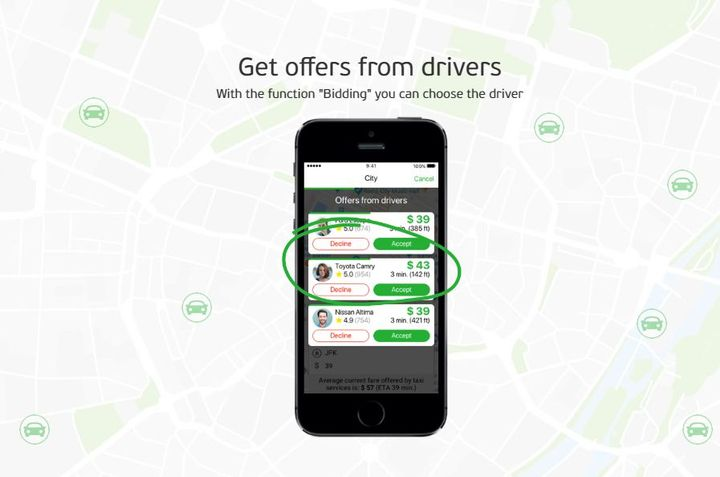 Once the price has been negotiated, customers can see other offers with details such as vehicle type, driver rating, and estimated arrival time. - Screenshot via inDriver.