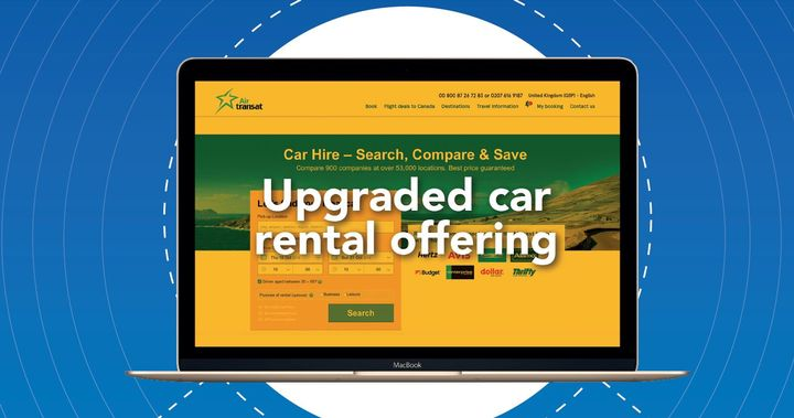 Rentalcars Connect's bespoke offering for Air Transat includes the creation of a car rental tab for the airline's flight confirmation page, diverting customers to an integrated, white-labelled booking platform, optimized through thorough A/B testing. - Photo courtesy of Rentalcars Connect.