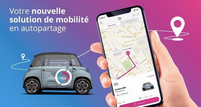After using the rented vehicle, the user can park freely in the authorized parking spaces and at the Autolib 'stations indicated in the Free2Move application . - Screenshot via Free2Move.