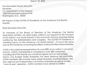 ACRA Letter to Treasury Secretary Asks for COVID-19 Relief