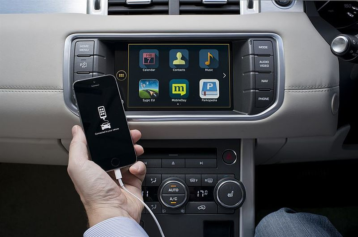 A maliciously crafted USB device plugged into a vehicle can infect the infotainment system, something that could be done by a driver via social engineering tricks, such as a USB loaded with free music that entices a driver to plug in the infected USB drive. - Photo via New Range Rover Evoque Autobiography/Flickr.
