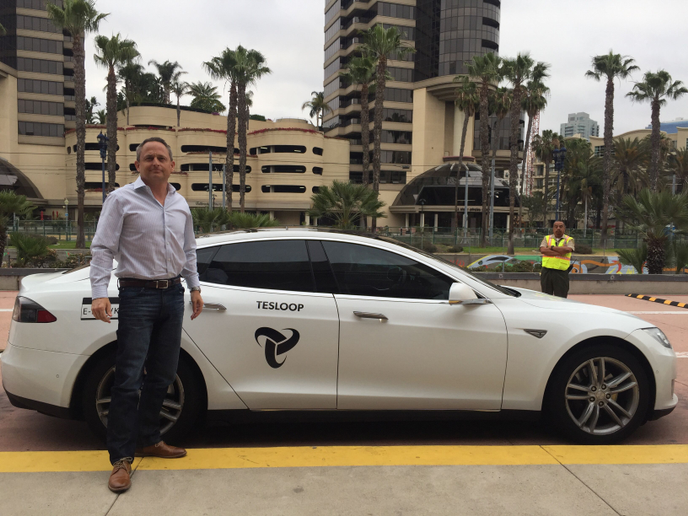 Auto Rental News Executive Editor Chris Brown rode in Tesloop's eHawk, which surpassed 400,000 miles in just three years and is now the Tesla with the highest reported mileage in the world.  - Photo by Chris Brown.