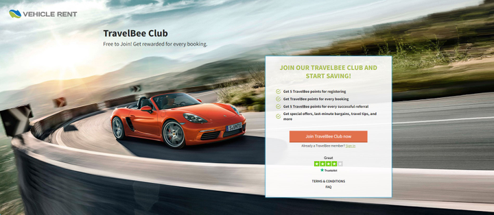 TravelBee Club members can use the online booking system to find offers that correspond to their needs. - Photo courtesy of Vehicle Rent