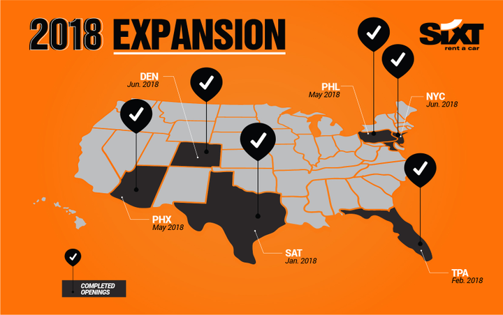 In 2018 alone, Sixt has opened a new location at the San Antonio International Airport, moved into an upgraded facility at the Tampa International Airport, and opened a new location at the Fort Myers International Airport. - Photo courtesy of Sixt USA.