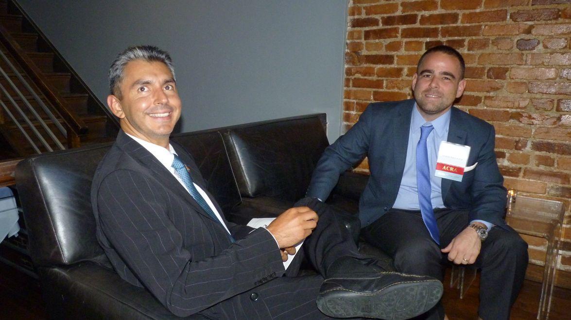 Ian Kusinitz of Empire Car Rental (right) sits with Carlos Bazan of Rent Luso.
