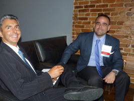 Ian Kusinitz of Empire Car Rental (right) sits with Carlos Bazan of Rent Luso.