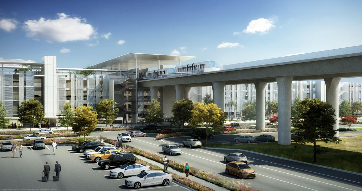 The system will run on a 2.25-mile elevated dual-lane guideway with six stations and create new...