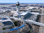 Aerial view of People Mover in Central Terminal Area.