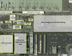 The current layout of the Long Beach Airport, where travelers must exit the airport and pass...