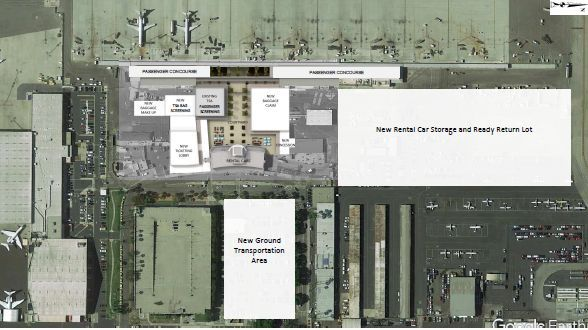 A rendering of the new layout of the airport sees rental car counters in the historic building,...