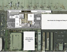 A rendering of the new layout of the airport sees rental car counters in thehistoric building,...