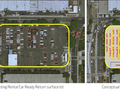 The current rental car return lot will be turned in a consolidated ground transportation area.