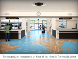 The renovated historic terminal building will house the five rental car companies that operate...
