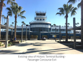 The current view of the historic terminal building as seen from exiting the TSA screening area.