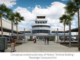 The renovated historic terminal. Passengers flying into Long Beach will have direct access to...