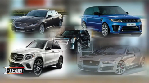 The stolen vehicles — a brand-new Maserati, a Jaguar, a Porsche Cayenne, a Mercedes, a Land...