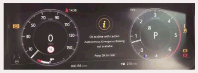 "Note the ""Autonomous emergency braking not available"" message in the instrument display. -"