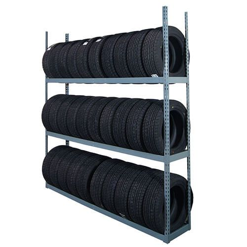Load capacity is 500 pounds per tier, and eight to 10 tires can be stored per tier. -