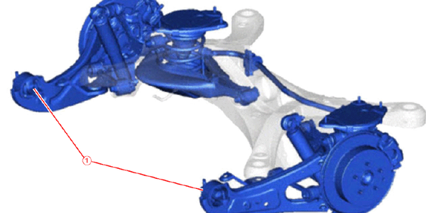 Rear suspension. Note location of the trailing arm bushings.