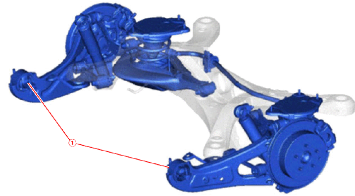 Rear suspension. Note location of the trailing arm bushings. -
