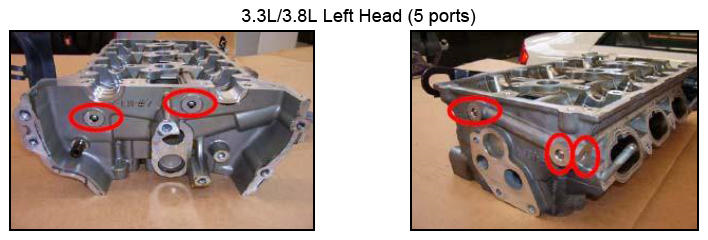 Examples of oil passages that need to be plugged on 3.3 and 3.8 heads. Left head features five ports. -