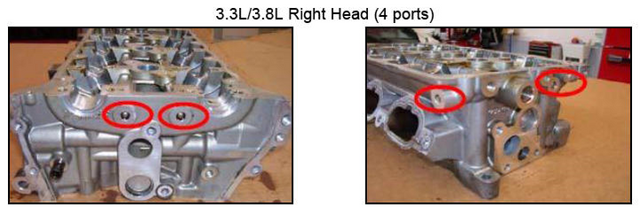 3.3/3.8L right head features four ports. -