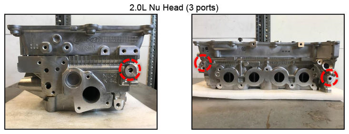 The 2.0L head features four ports that must be plugged. -