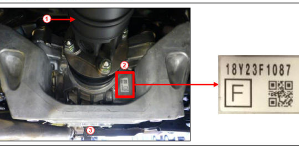 Location of rear differential production date. 1) Propeller shaft; 2) Rear differential serial...