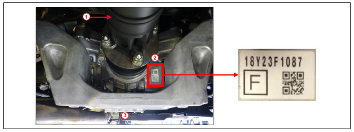 Location of rear differential production date. 1) Propeller shaft; 2) Rear differential serial number; 3) Differential front view. -