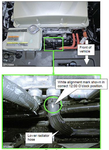 Example of correct hose alignment with the white mark at 12 o'clock. -