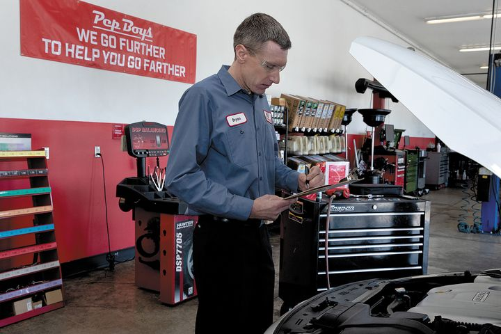"Much of the work was done by Bryan Lamparter, a master technician who was recently recognized as a Pep Boys ""Top Tech."" -"