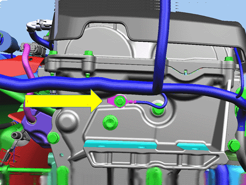 Note that the ground terminal ring tab must face the rear of the engine (on the right/passenger side of the engine). -